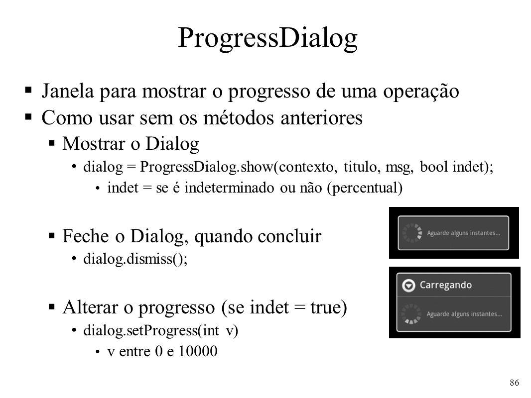 ProgressDialog Janela para mostrar o progresso de uma operação