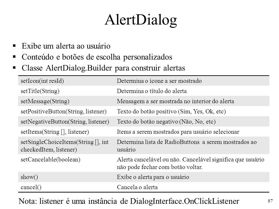 AlertDialog Exibe um alerta ao usuário