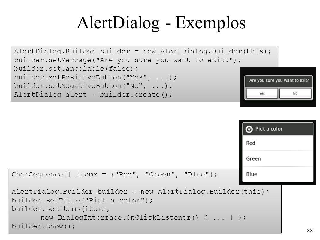 AlertDialog - Exemplos