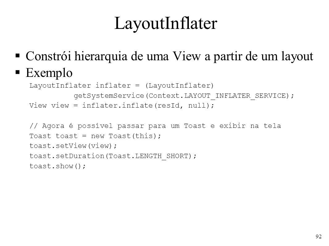 LayoutInflater Constrói hierarquia de uma View a partir de um layout