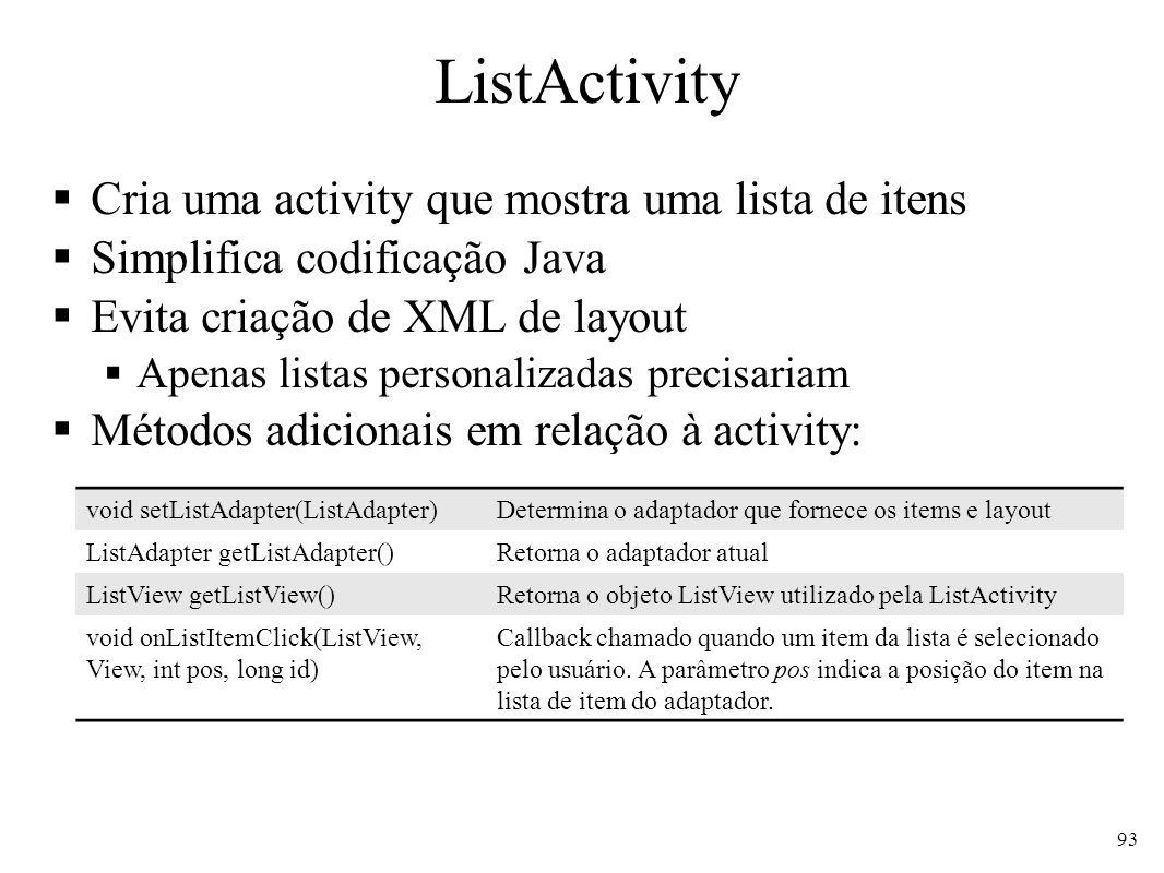 ListActivity Cria uma activity que mostra uma lista de itens