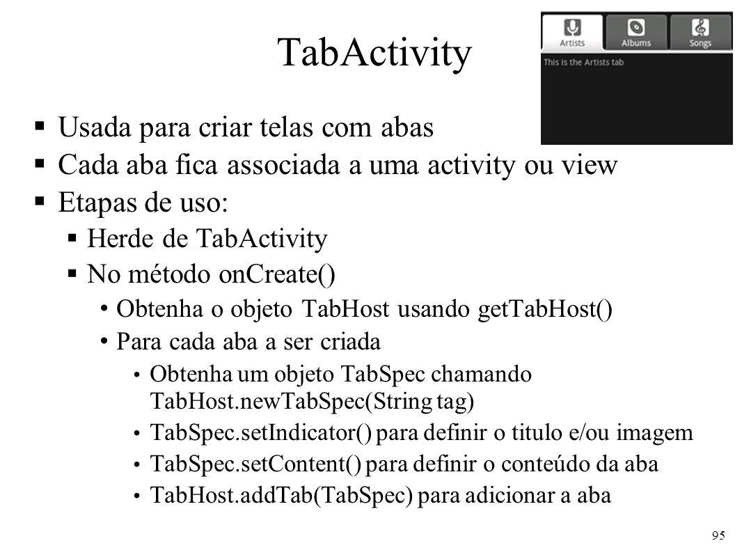 TabActivity Usada para criar telas com abas