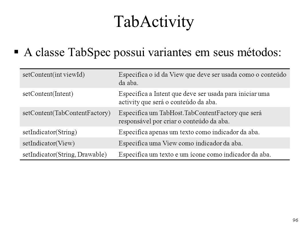 TabActivity A classe TabSpec possui variantes em seus métodos: