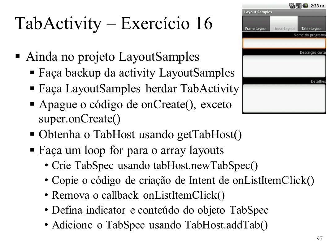 TabActivity – Exercício 16