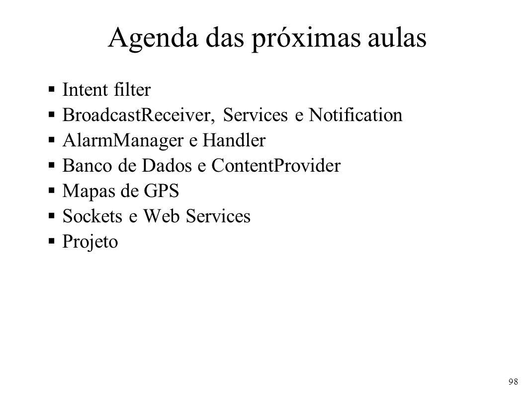 Agenda das próximas aulas