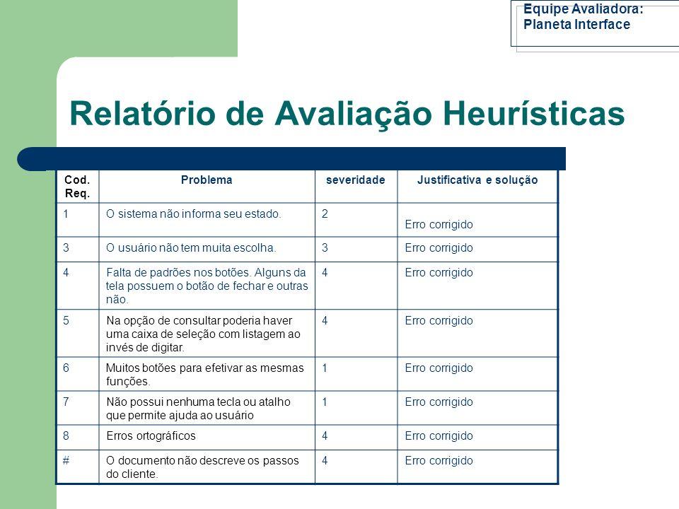 Relatório de Avaliação Heurísticas