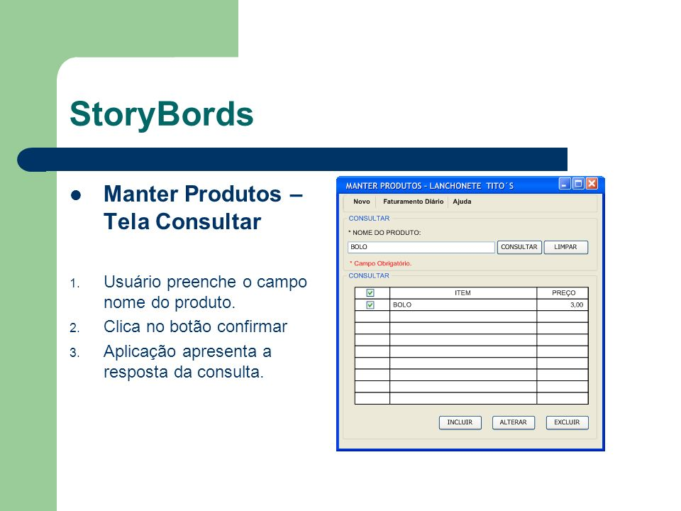StoryBords Manter Produtos – Tela Consultar