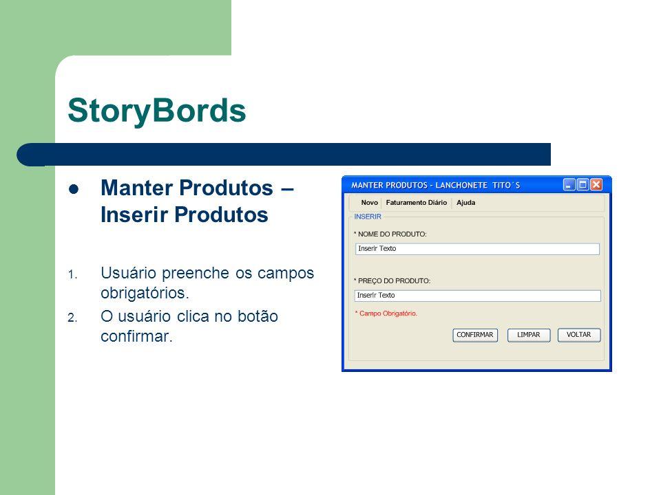 StoryBords Manter Produtos – Inserir Produtos