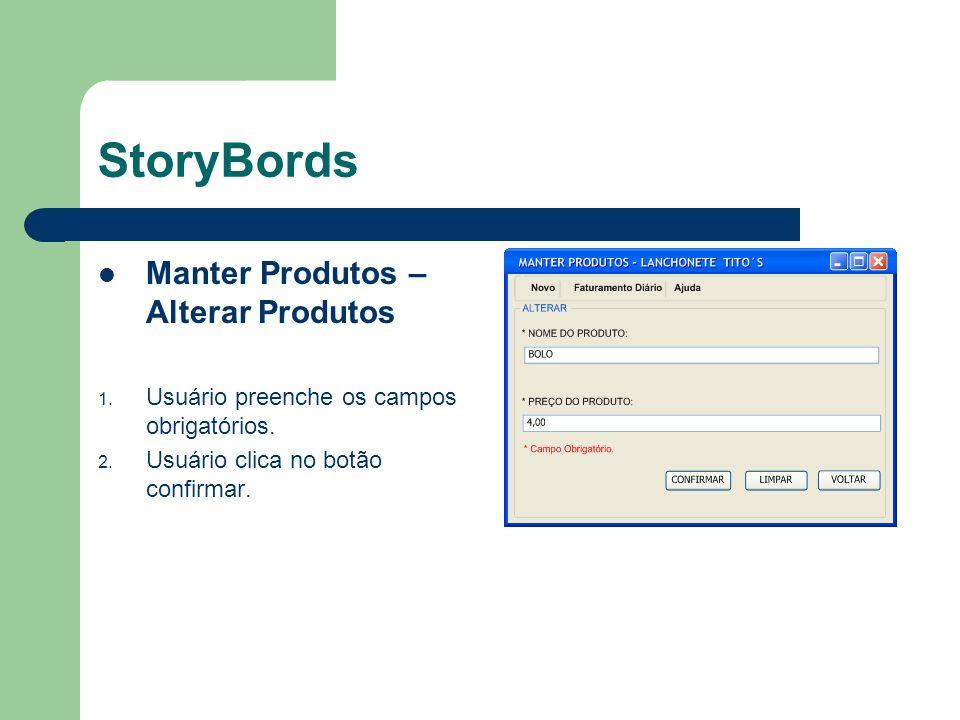 StoryBords Manter Produtos – Alterar Produtos