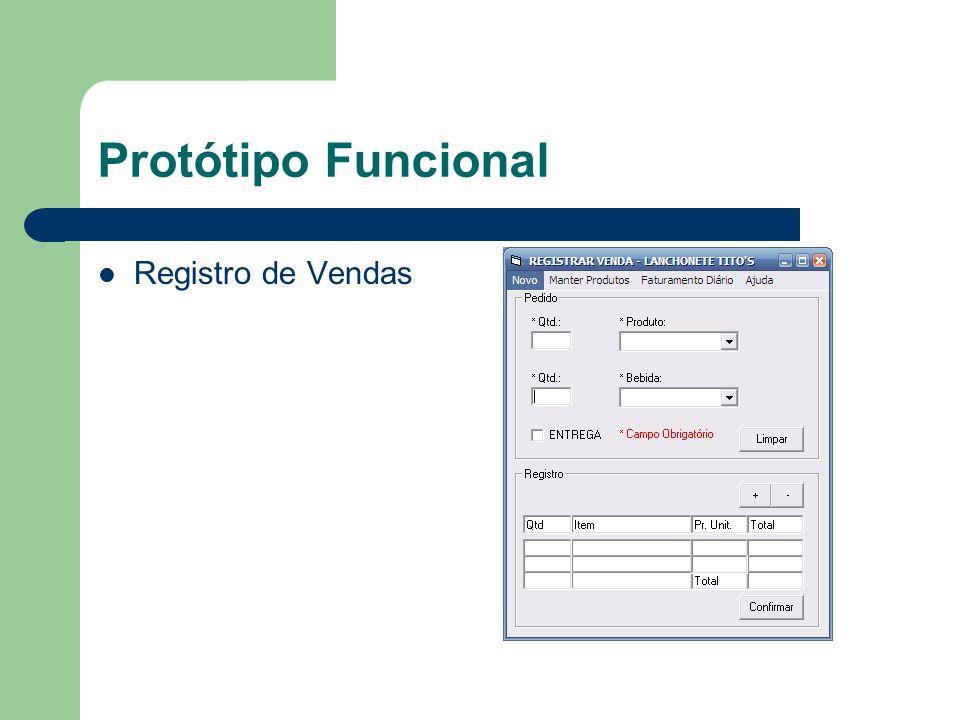 Protótipo Funcional Registro de Vendas