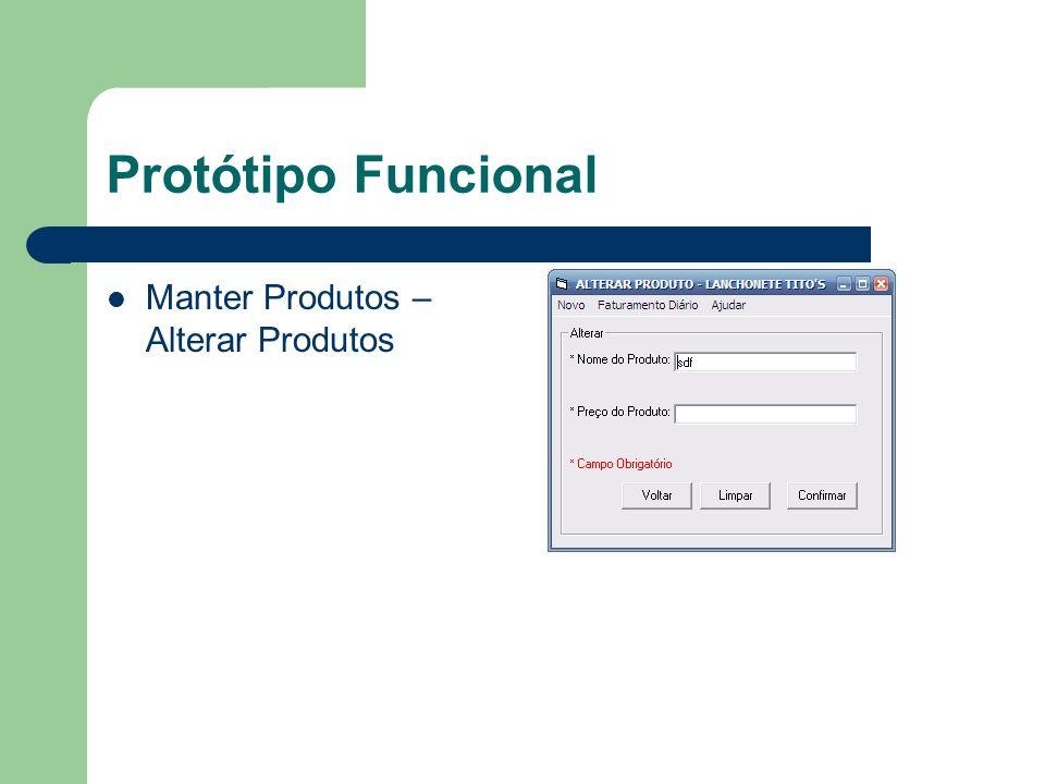 Protótipo Funcional Manter Produtos – Alterar Produtos