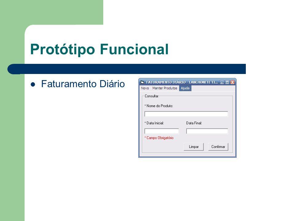 Protótipo Funcional Faturamento Diário