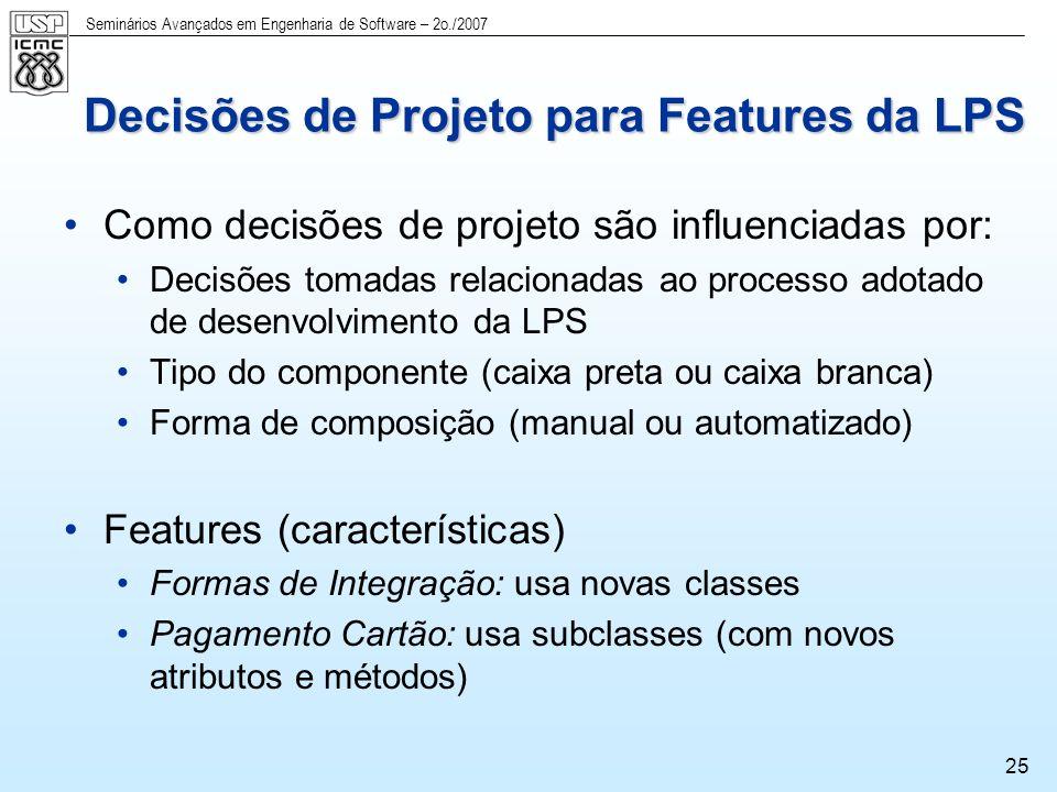 Decisões de Projeto para Features da LPS