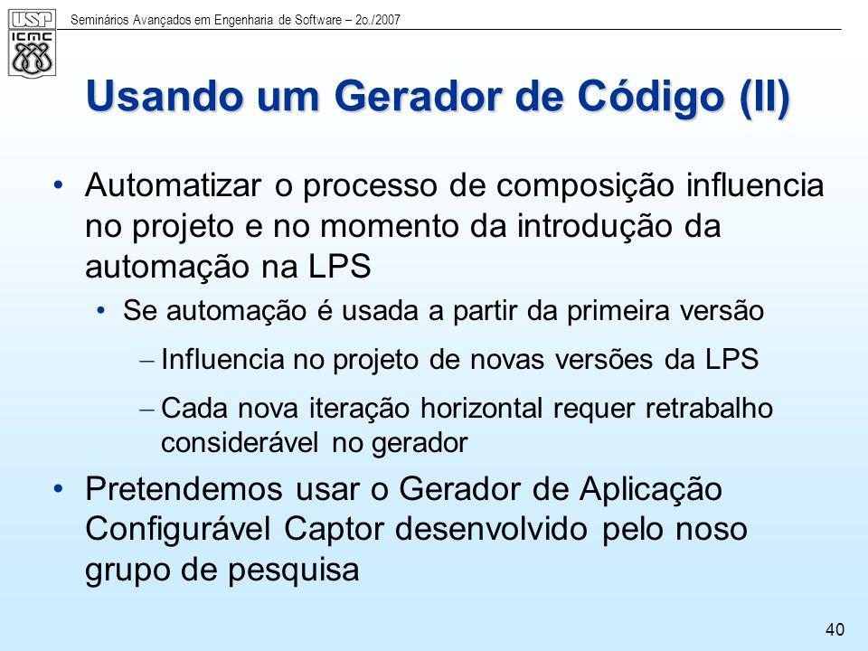 Usando um Gerador de Código (II)