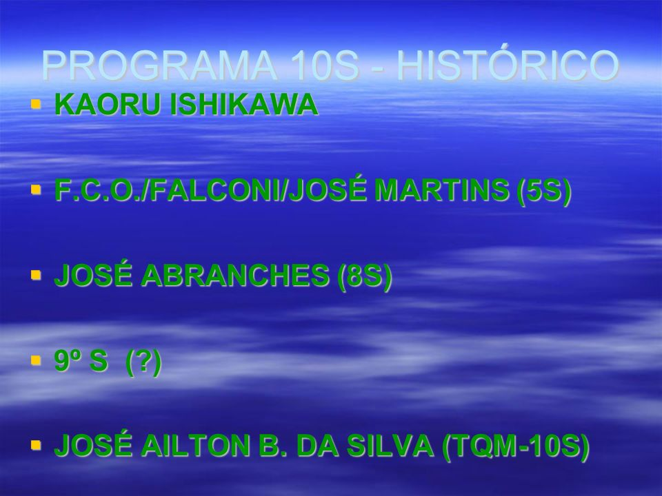 PROGRAMA 10S - HISTÓRICO KAORU ISHIKAWA