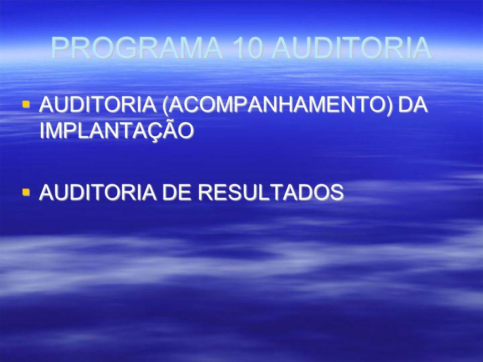 PROGRAMA 10 AUDITORIA AUDITORIA (ACOMPANHAMENTO) DA IMPLANTAÇÃO