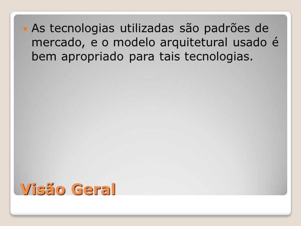 As tecnologias utilizadas são padrões de mercado, e o modelo arquitetural usado é bem apropriado para tais tecnologias.