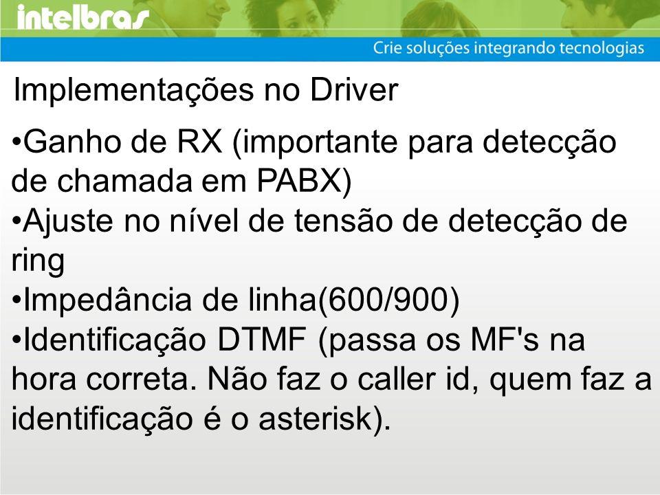Implementações no Driver