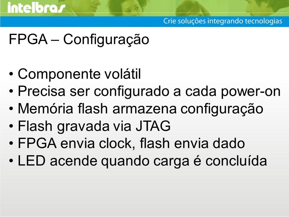 FPGA – Configuração • Componente volátil. • Precisa ser configurado a cada power-on. • Memória flash armazena configuração.