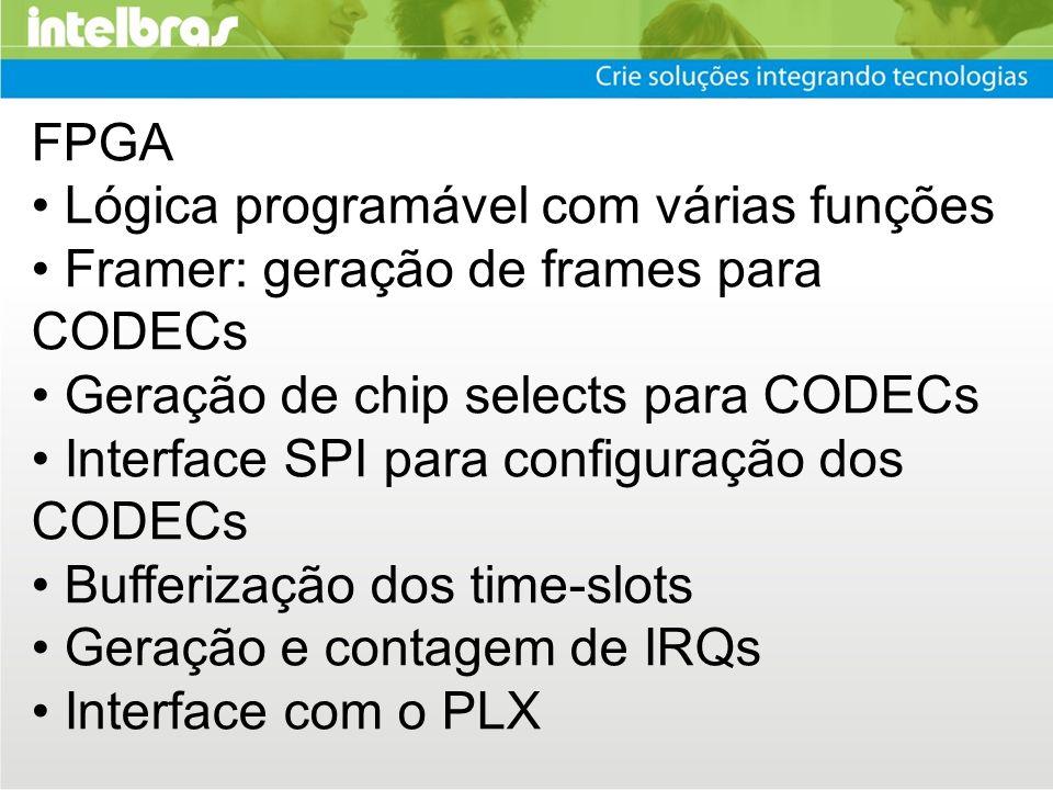 FPGA • Lógica programável com várias funções. • Framer: geração de frames para CODECs. • Geração de chip selects para CODECs.