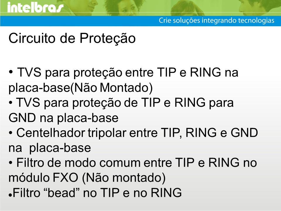 • TVS para proteção entre TIP e RING na placa-base(Não Montado)