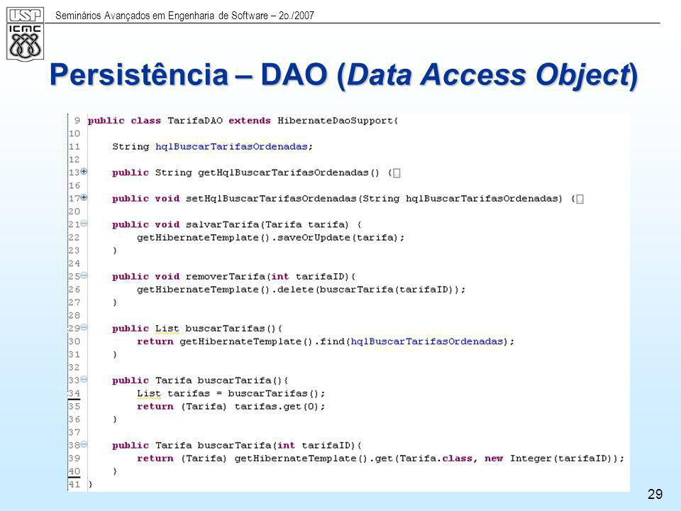 Persistência – DAO (Data Access Object)