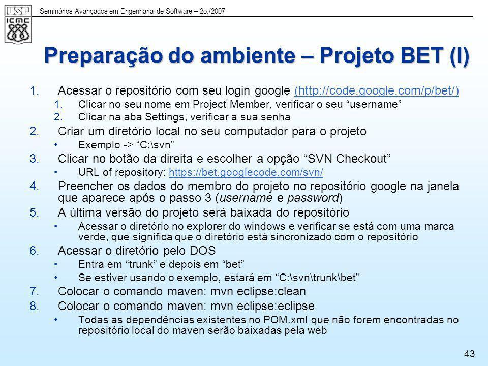 Preparação do ambiente – Projeto BET (I)