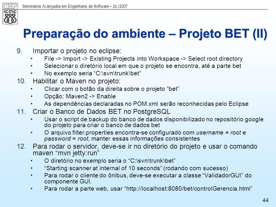 Preparação do ambiente – Projeto BET (II)
