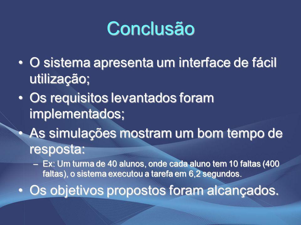 Conclusão O sistema apresenta um interface de fácil utilização;