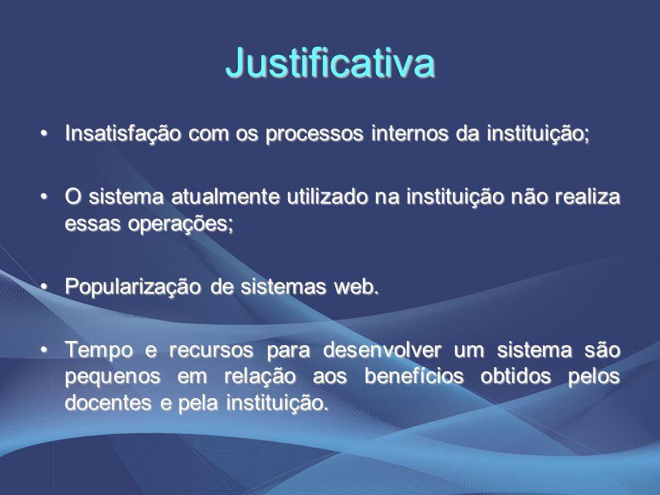 Justificativa Insatisfação com os processos internos da instituição;