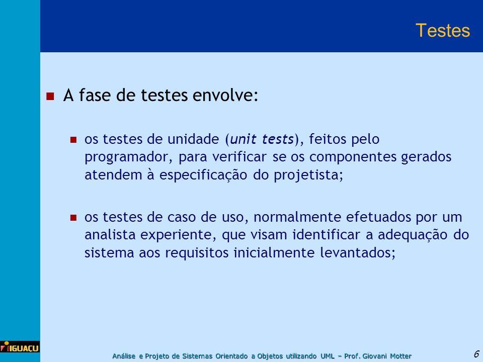 Testes A fase de testes envolve: