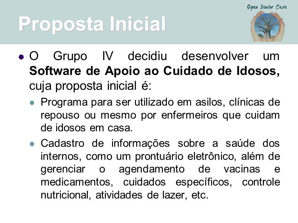 Proposta Inicial O Grupo IV decidiu desenvolver um Software de Apoio ao Cuidado de Idosos, cuja proposta inicial é: