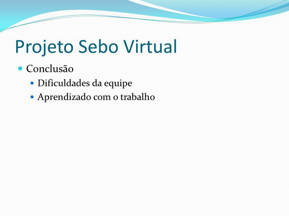 Projeto Sebo Virtual Conclusão Dificuldades da equipe
