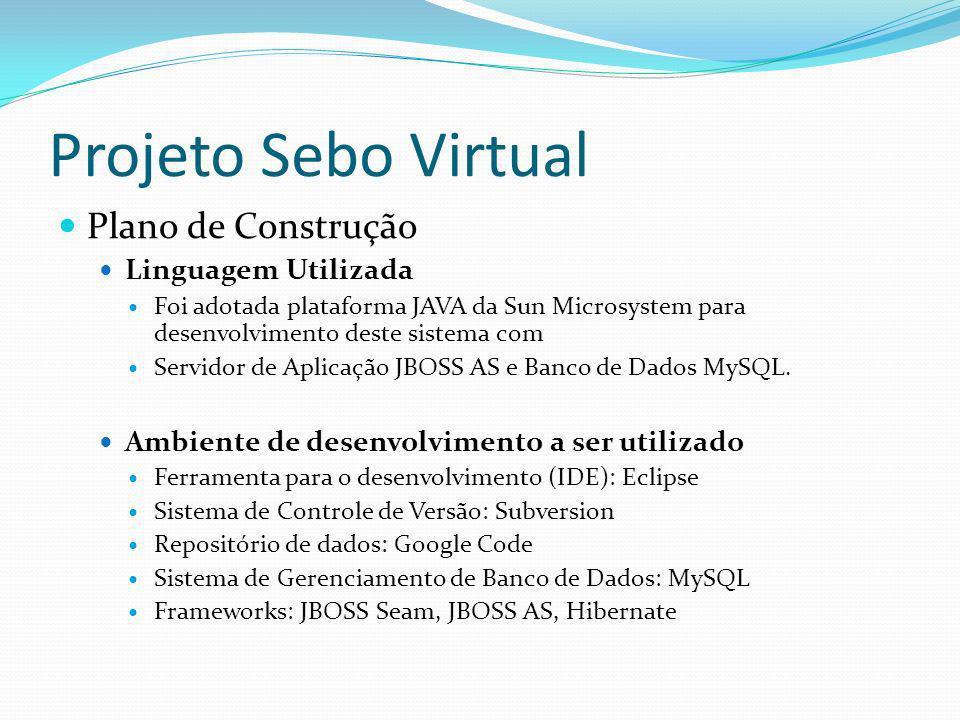 Projeto Sebo Virtual Plano de Construção Linguagem Utilizada