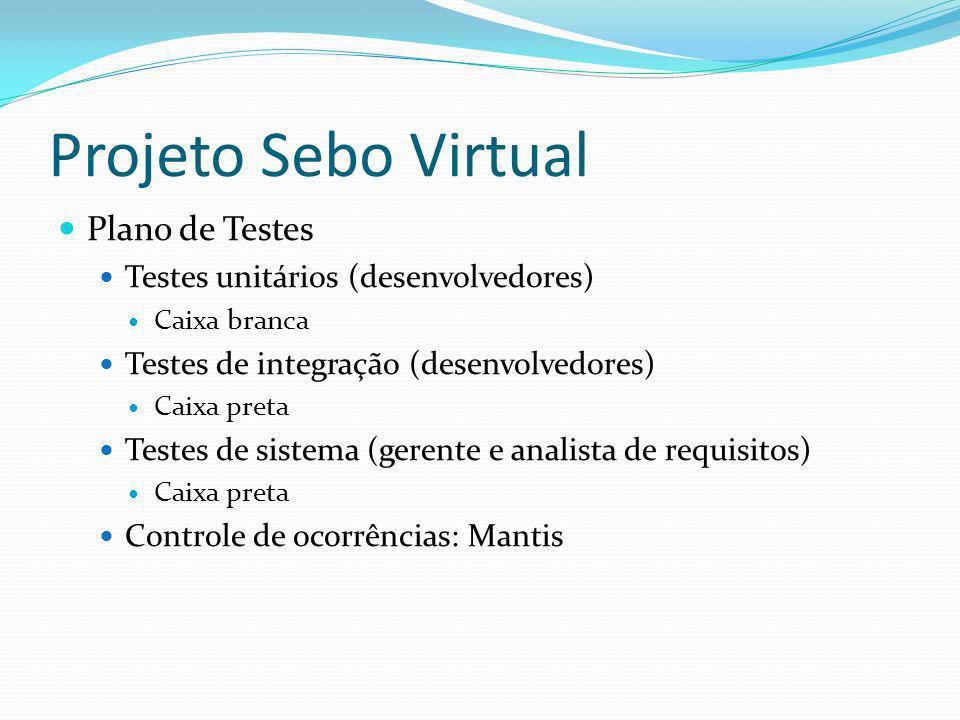 Projeto Sebo Virtual Plano de Testes