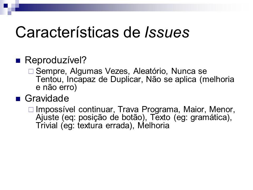 Características de Issues
