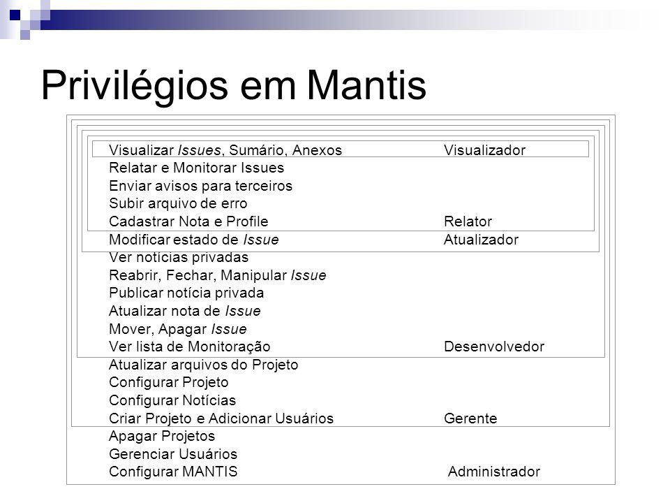 Privilégios em Mantis Visualizar Issues, Sumário, Anexos Visualizador