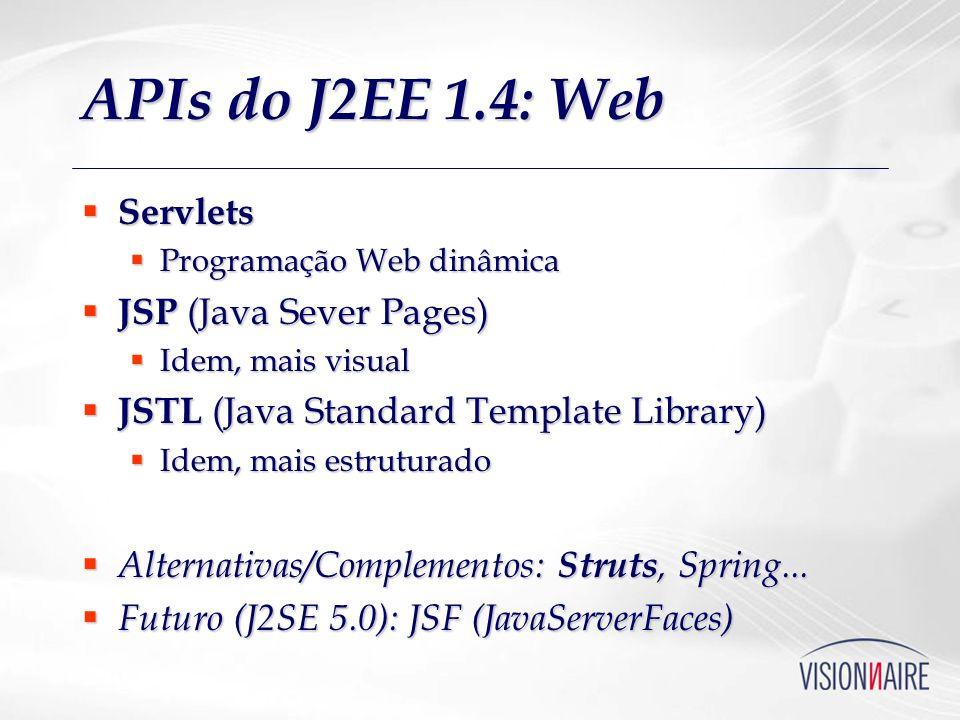 APIs do J2EE 1.4: Web Servlets JSP (Java Sever Pages)