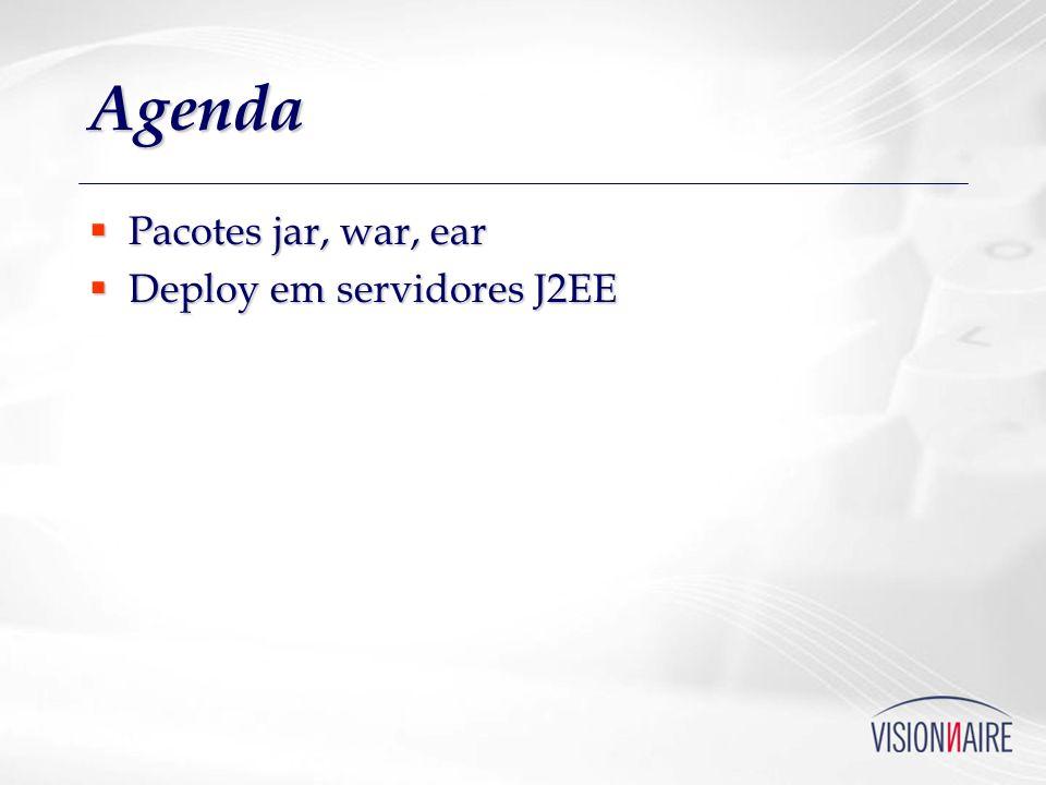 Agenda Pacotes jar, war, ear Deploy em servidores J2EE