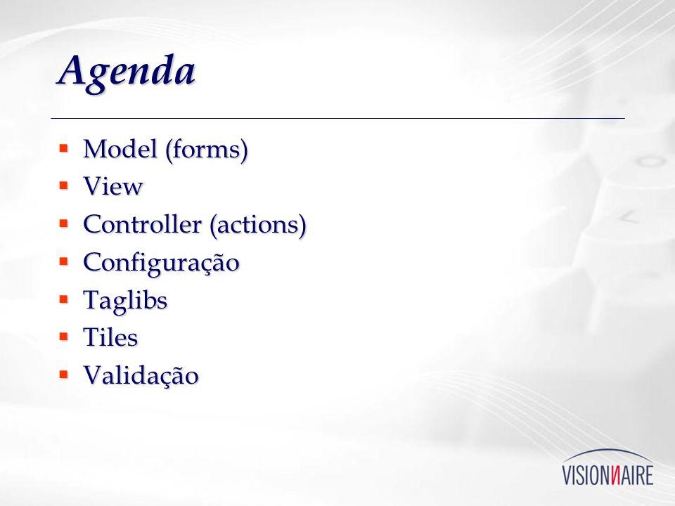 Agenda Model (forms) View Controller (actions) Configuração Taglibs