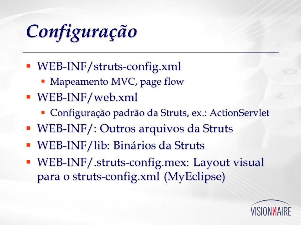 Configuração WEB-INF/struts-config.xml WEB-INF/web.xml