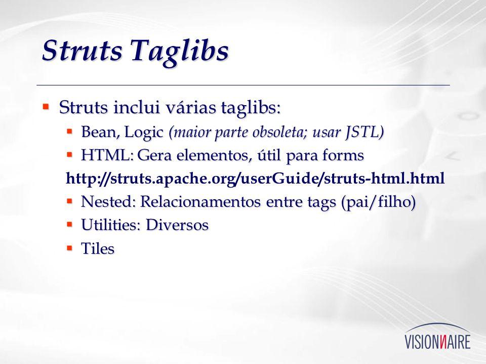 Struts Taglibs Struts inclui várias taglibs: