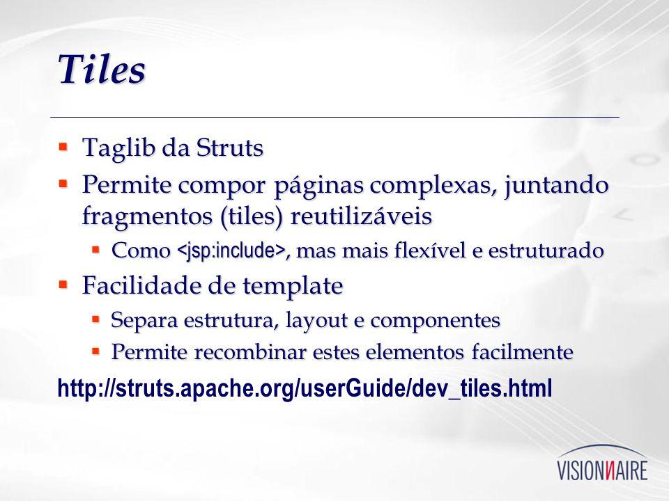 Tiles Taglib da Struts. Permite compor páginas complexas, juntando fragmentos (tiles) reutilizáveis.