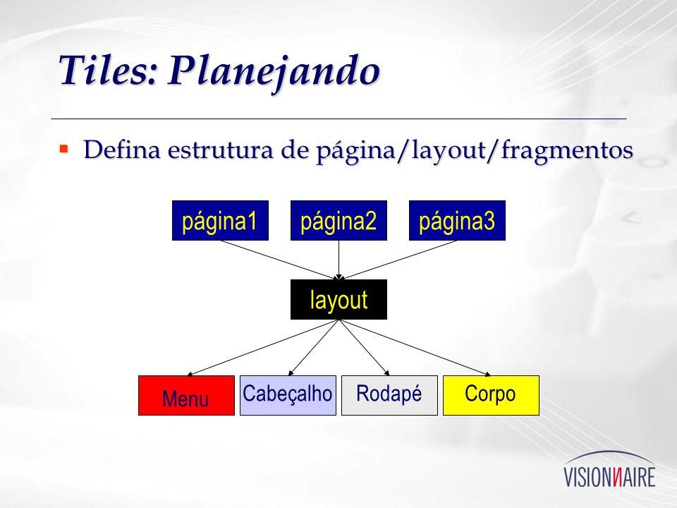 Tiles: Planejando Defina estrutura de página/layout/fragmentos página1
