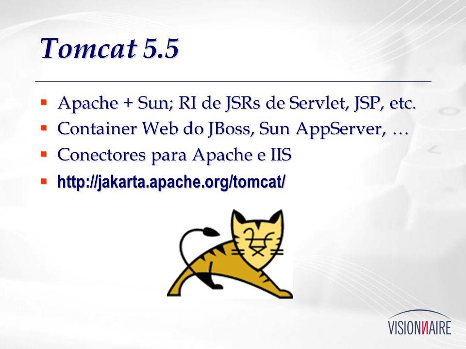 Tomcat 5.5 Apache + Sun; RI de JSRs de Servlet, JSP, etc.