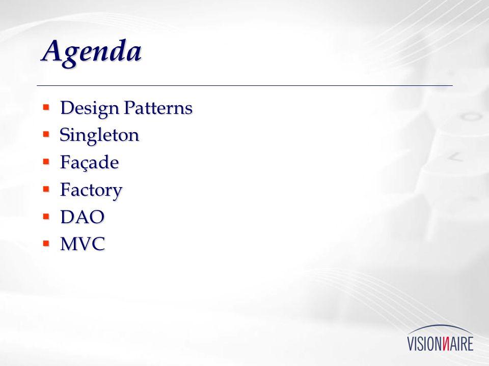 Agenda Design Patterns Singleton Façade Factory DAO MVC