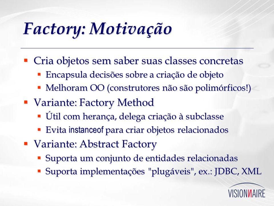 Factory: Motivação Cria objetos sem saber suas classes concretas