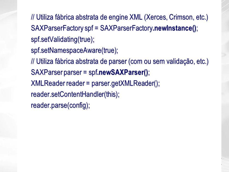 // Utiliza fábrica abstrata de engine XML (Xerces, Crimson, etc.)