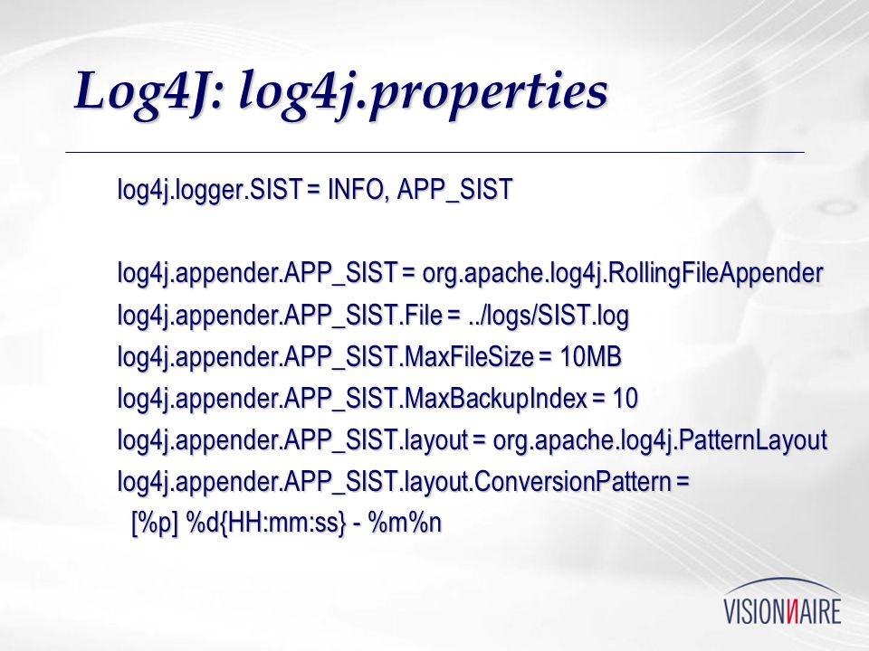 Log4J: log4j.properties log4j.logger.SIST = INFO, APP_SIST