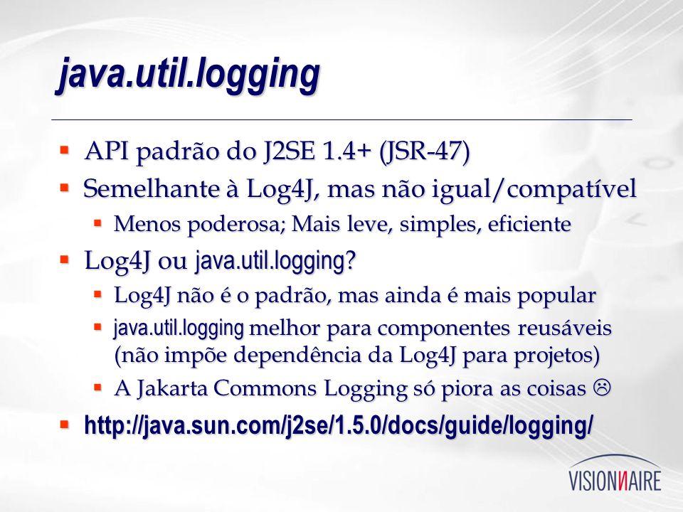 java.util.logging API padrão do J2SE 1.4+ (JSR-47)